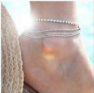 Jewelry - New 4 Strand Silver Plated & CZ Anklet